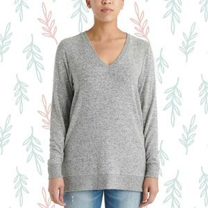 Lucky Brand Soft Gray V Neck Sweater Tunic Small